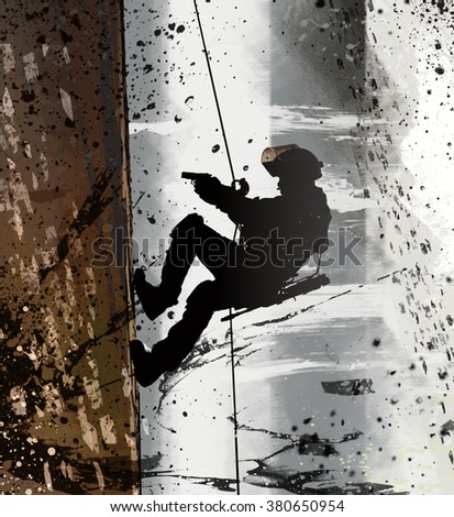 FRIES combat rappeling - stock photo