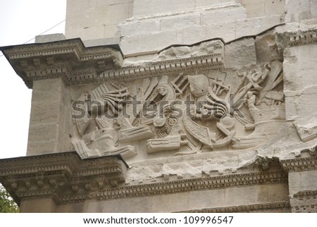 Frieze sculpture of Roman battle against the Gauls, Arch of Triumph, Orange, France