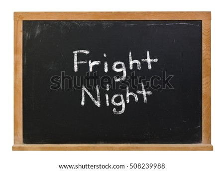 Fright Night written in white chalk on a black chalkboard isolated on white