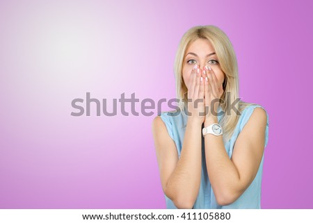 frightened and shocked girl - stock photo