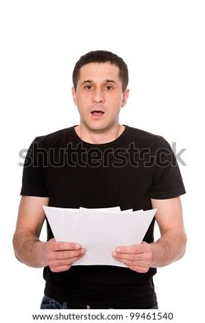 frightened man with letter isolated on white background - stock photo