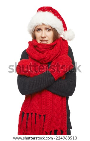 Frightened scared Christmas woman wearing santa hat and red scarf and mittens, over white background - stock photo