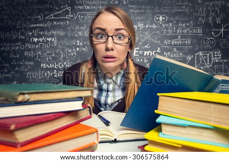 frightened student before an exam, panicked expression - stock photo