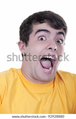 frightened teenage boy on white background - stock photo