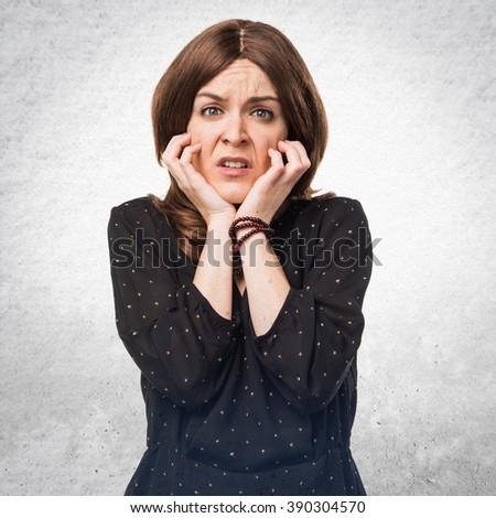 Frightened woman - stock photo