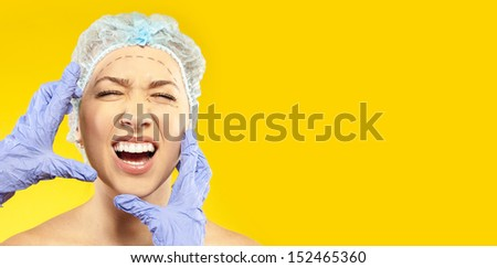 frightened woman before surgery - stock photo