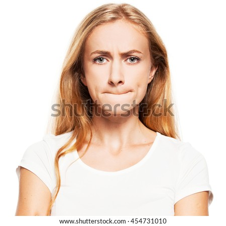 Frightened woman. Female with pinched lips. Abuse - stock photo