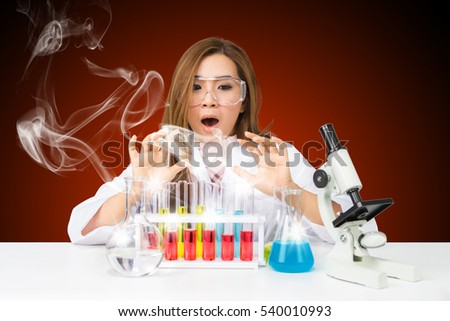 Frightened Woman Scientist After Unsuccessful Chemical Experiment