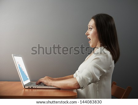 frightened young businesswoman looking at negative statistic