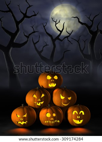 Frightening Halloween pumpkins or Jack O'Lanterns in a spooky and misty forest under a full moon at night.