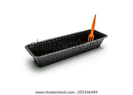 Frikandel sausage shell with orange fork on white - stock photo