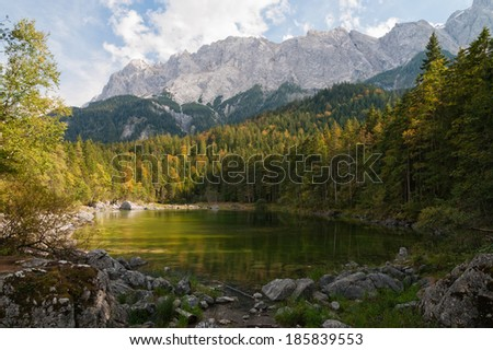 Frillensee is a small lake near lake Eibsee, a mountain lake beneath the Zuspitze, Germanies highest mountain.