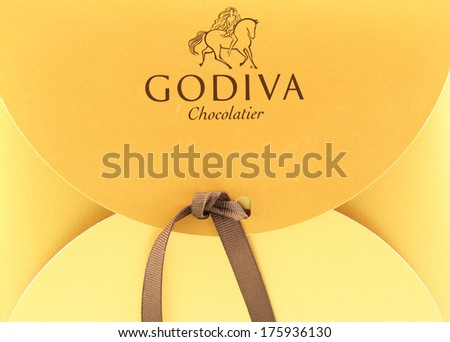 FRISCO, TX / USA - February 6, 2014: Godiva Chocolatier established in Brussels, Belgium in 1926 is now an international company. Godiva also sells truffles, coffee, cocoa and various gift baskets.