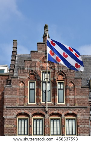 Frisian Flag at the former Post Office in Leeuwarden, Capital of province Friesland in The Netherlands.