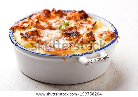 Frittata with bacon - stock photo