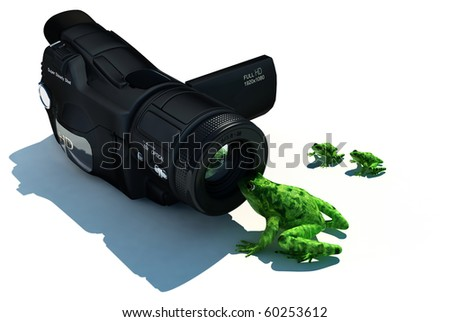 Frog and camera on a white background