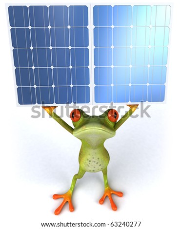Frog and green energy - stock photo
