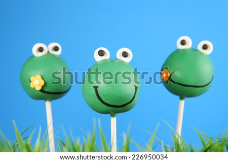 Frog cake pops - stock photo