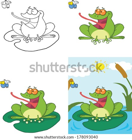 Frog Catching A Fly Cartoon Character. Set Raster Collection - stock photo