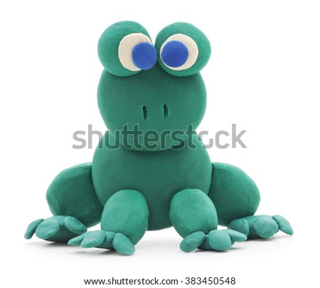Frog clay isolated on a white background. - stock photo