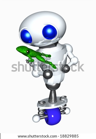 Frog jumping from cute robot's hands. - stock photo