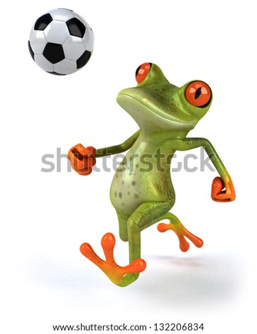 Frog playing football - stock photo