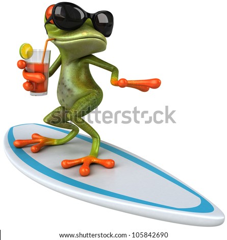 Frog surfing - stock photo