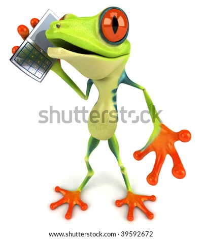 Frog with a mobile phone