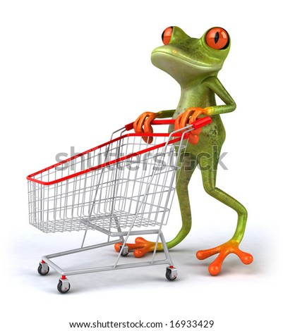 Frog with a shopping cart - stock photo