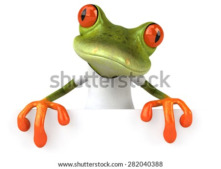 Frog with a white tshirt - stock photo