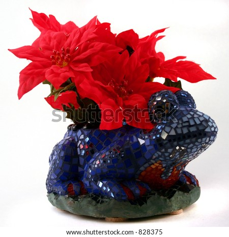 Frog with Flowers - stock photo