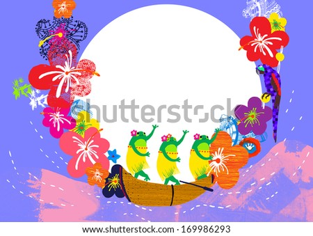 Frogs in hula skirts dancing on a canoe.