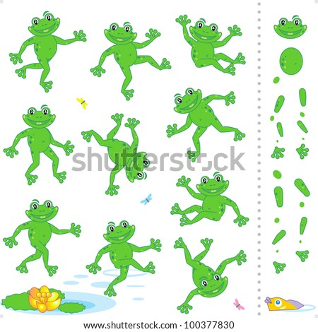 Frogs or toads cartoon characters construction kit ( for vector EPS see image 100377824 )