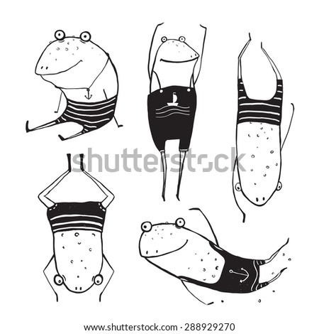 Frogs Summer Swimming Drawing Collection. Fun childish hand drawn inky one color outline illustration for kids. Raster variant. - stock photo