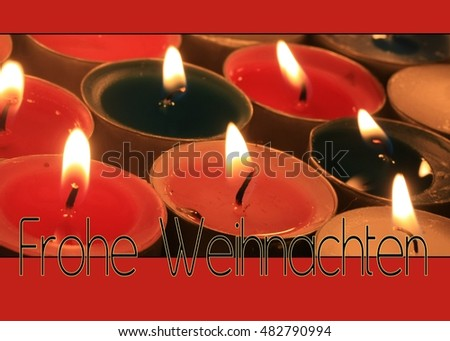 Frohe Weihnachten: Merry Christmas in German.  Christmas card, votive lights