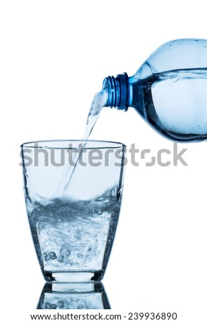 from a water bottle water being poured into a glass - stock photo