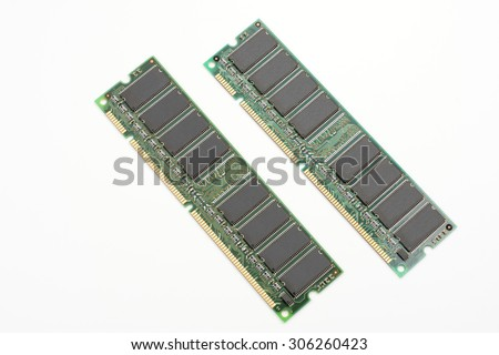 From an oblique angle of desktop computer memory isolated on white background