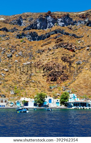 from    boat    in europe greece   santorini island house and rocks the sky