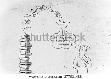 from books to expertise: pages turning into career potential for a graduate student - stock photo