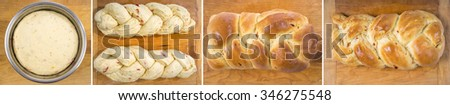 From Dough to Bread, Various Stages of Making a Fancy Braided Herb Bread - stock photo
