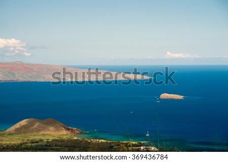 From Maui Pii Lani highway overlooking the Kahoolawe and Molokini -1  - stock photo