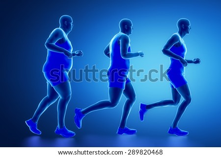 From obese man to sportsman - stock photo