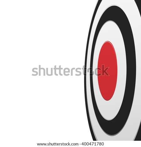 From one side view of black round target with red center isolated on white background - stock photo