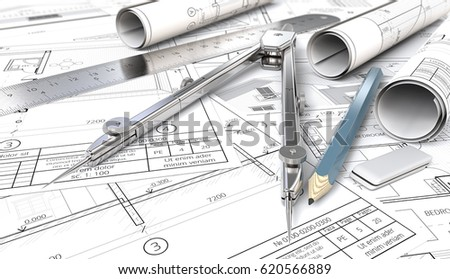 Sketch blueprint architectural house blueprints drawings stock from sketch to blueprint architectural house blueprints drawings and sketches rolls ruler malvernweather Image collections