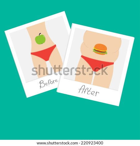 From skinny to fat woman. Healthy unhealthy food apple hamburger Before after instant photo. Flat design.  - stock photo