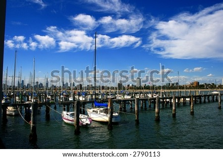 From St Kilda to view Melbourne city - stock photo