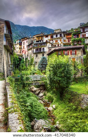 From the City of Tende, Alpes-Maritimes, Provence, France - stock photo