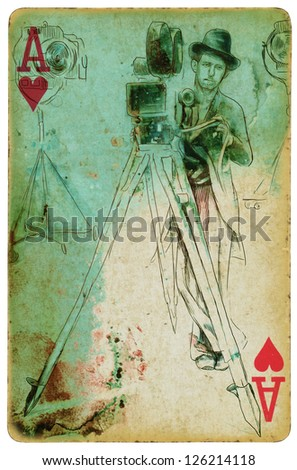 From the film history: Man behind the camera. /// Vintage (in the grunge-retro style) drawing drawn on the old playing card, the ace of hearts. - stock photo