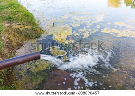 From the pipe water flows into the river, the lake, the sea. Environmental pollution, ecological catastrophe