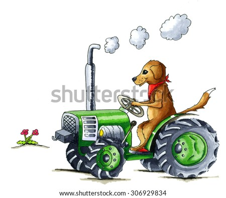 From the series dog - Illustration of funny dog on tractor - stock photo